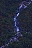 Cascada de la montaña en la manera al glaciar 3 de Mendelhall Fotos de archivo libres de regalías
