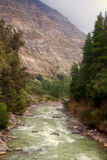 Cascada de las Animas i Cajon del Maipo, Chile Arkivbilder