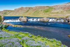 Cascada de Laxfoss en Islandia Imágenes de archivo libres de regalías