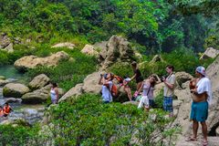 Cascada de Misol Ha,瀑布在恰帕斯州, Mexi密林  免版税图库摄影