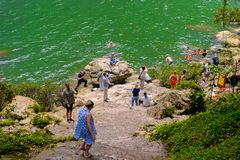 Cascada de Misol Ha,瀑布在恰帕斯州, Mexi密林  免版税库存图片