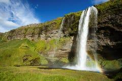 Cascada de Seljalandfoss en Islandia imagenes de archivo