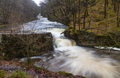 Cascada de Sgwd y Bedol En el río Nedd Fechan el Sur de Gales, Reino Unido Foto de archivo