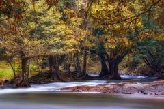 Cascada de Wang Takrai situada en Nakhon Nayok Tailandia Tirado tomado con la superficie lisa y mullida larga de la exposición po imágenes de archivo libres de regalías