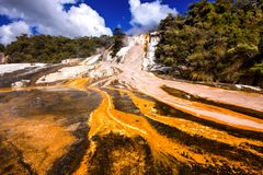 Cascada del agua mineral caliente Rotorua, isla del norte, Nueva Zelanda imagenes de archivo