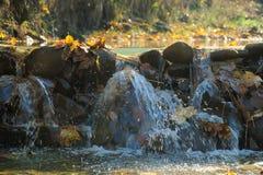 Cascada en bosque del otoño Foto de archivo libre de regalías