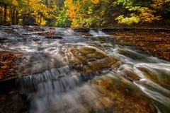 Cascada en bosque del otoño imagen de archivo