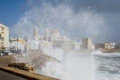 Cascada en Cádiz con la catedral en fondo imagen de archivo libre de regalías