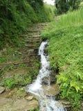 ¡Cascada en camino montañoso! Fotos de archivo