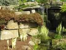 Cascada en jardín alpino fotos de archivo