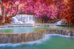 Cascada en la selva tropical (Tat Kuang Si Waterfalls en el prabang de Luang Foto de archivo libre de regalías