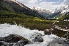 Cascada en las montañas Imágenes de archivo libres de regalías