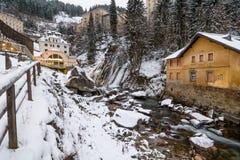 Cascada en mún Gastein durante invierno Fotos de archivo