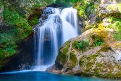 Cascada en Soteska vintgar, Eslovenia la garganta de Vintgar o Ble Fotografía de archivo