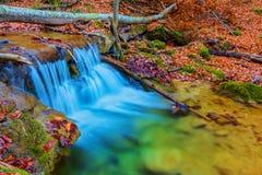 Cascada en un río de la montaña Fotos de archivo libres de regalías