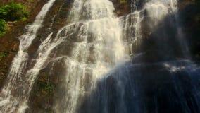 Cascada espumosa de la cascada del río de la montaña del primer en las zonas tropicales almacen de metraje de vídeo