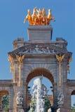 Cascada Fountain Parc de La Ciutadella Barcelona. The Cascada Fountain, a golden charriot with four horses and several greek statues Stock Photos