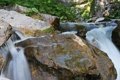 Cascada fresca del verano de la montaña Foto de archivo libre de regalías