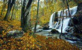 Cascada hermosa en bosque del otoño en montañas crimeas en el sol Fotografía de archivo