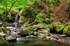 Cascada hermosa en el bosque foto de archivo