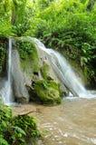 Cascada hermosa rodeada por los bosques y las montañas imagen de archivo libre de regalías