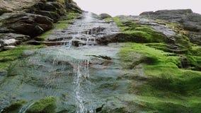 Cascada hermosa sobre piedras cubiertas de musgo en la ensenada de Tintagel en Cornualles almacen de video