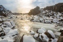 cascada Islandia del pingvellir Imagenes de archivo