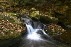 Cascada a lo largo de la corriente en las montañas ahumadas en caída fotografía de archivo libre de regalías