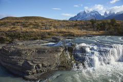Cascada Paine in Torres del Paine National Park, Chile Royalty Free Stock Photos