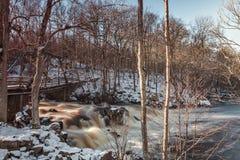 Cascada por la presa en bosque Imagen de archivo