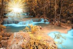 Cascada profunda del bosque del otoño con el haz luminoso Imagenes de archivo