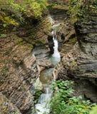 Cascada que conecta en cascada sobre Glen Gorge en la cañada de Watkins fotografía de archivo