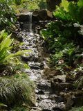 Cascada que fluye abajo de una pendiente rocosa rodeada por el follaje en Kauai Hawaii Fotos de archivo