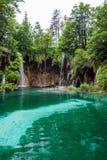 Cascada que fluye en el lago del bosque Plitvice, parque nacional, Croacia imagen de archivo