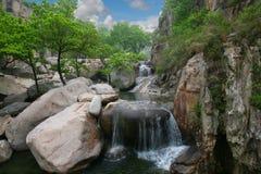 Cascada, roca y árboles Fotografía de archivo