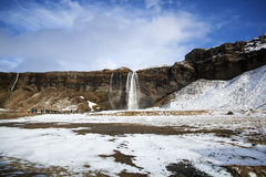 Cascada Seljalandsfoss en Islandia Fotografía de archivo