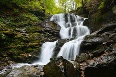 Cascada Shypit, cascada en Pylypets en la carpa del bosque del otoño Imagen de archivo libre de regalías