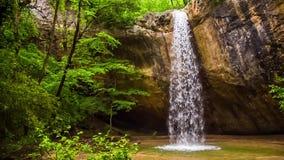 Cascada y cueva en la cámara lenta del bosque metrajes