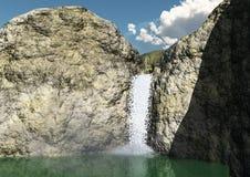 Cascada y montañas Imagen de archivo