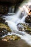 Cascada y rocas cubiertas con el musgo Fotos de archivo