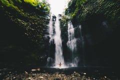 Cascadas del gemelo de Banyumala de la cascada de Bali imagen de archivo