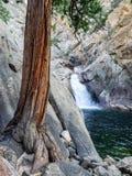Cascadas en barranco rocoso foto de archivo