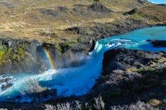 Cascadas en Parque Nacional Torres del Paine, Chile Foto de archivo