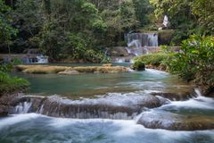 Cascadas escénicas y vegetación enorme en Jamaica Foto de archivo libre de regalías