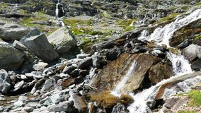 Cascadas que fluyen en el ambiente incontaminado idílico que cruza prados y los cantos rodados verdes en las montañas en verano almacen de video