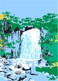 Cascadas salvajes en la selva Imagen de archivo libre de regalías