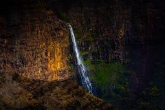 Cascade à écriture ligne par ligne de canyon de Waimea Image stock