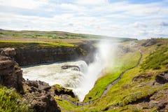 Cascade à écriture ligne par ligne de Gullfoss en Islande photo stock