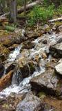 Cascade à écriture ligne par ligne au-dessus des roches Photo libre de droits
