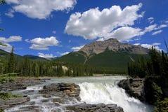 Cascade à écriture ligne par ligne d'Athabasca photos stock